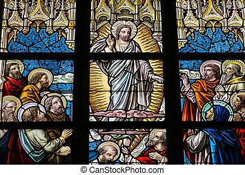 Pentecost - Leaded glass window in church of Alsemberg...
