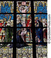 Jesus on the cross 1895 Stained glass church window in...