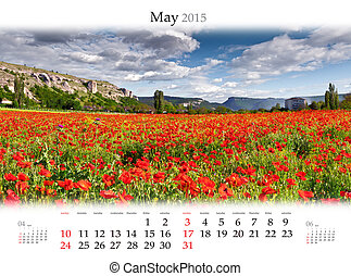 Calendar 2015. May. Blooming field of poppys