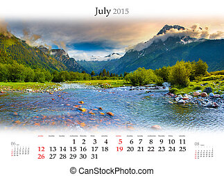 Calendar 2015 July Beautiful summer landscape in the...