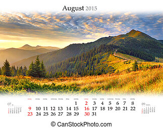 Calendar 2015. August. Beautiful sunrise landscape in the...