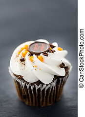 Cupcakes - Chocolate Halloween cupcakes with white...