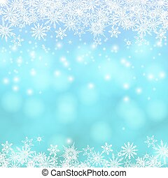 Vector card with Chrismas lights and snow - Vector card with...
