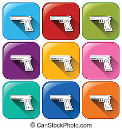 Gun icons - Illustration of different color gun icons