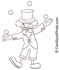 A plain sketch of a clown