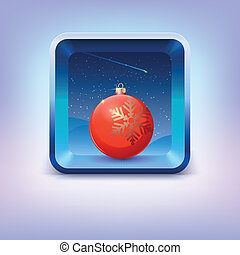 Icon with red Christmas ball, night sky and falling star -...