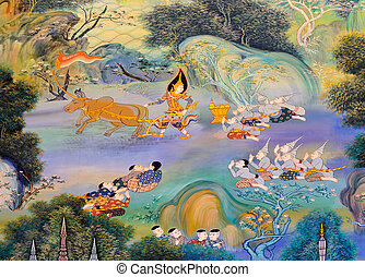 Thai mural painting on temple wall
