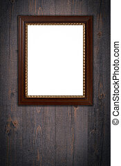Old picture frame on vintage wood wall