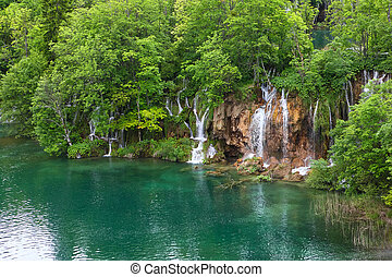 Plitvice Lakes - Waterfall in the Plitvice Lakes in Croatia...