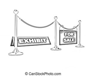 Exhibition on a white background