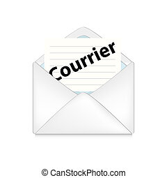 opened envelope concept - opened envelope with courrier on...