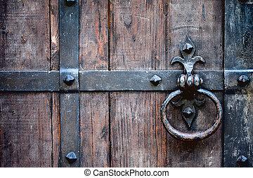 antique doorknob - antique wrought iron door handle on oak...