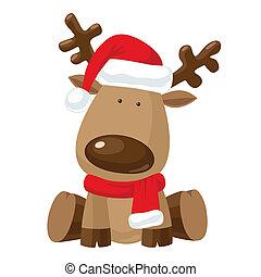 Christmas reindeer in Santa`s red hat - Reindeer child...