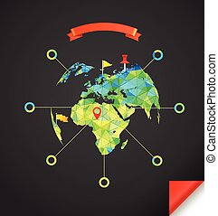World map infographic template. Design elements