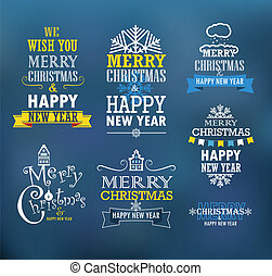 Merry Christmas and a happy New Year wishes Design elements...