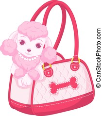 Pink poodle - Glamorous and pink poodle peeking out of a...