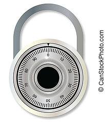 Combination Lock - A closed compination padlock over a white...
