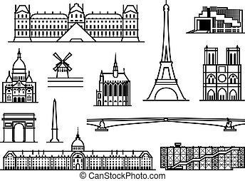 Paris monuments - Paris Famous landmarks and sights outline...