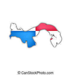 map and flag of  panama with shadow on white background