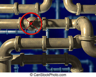 Crossing pipes system on blue background CG illustration