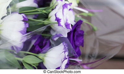 Flowers wrapped - Wedding flowers from guests in cellophane