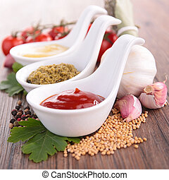 ketchup,pesto sauce and mustard