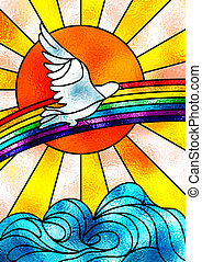 Peace dove - Stained glass composition showing a white dove...