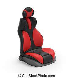 3d illustration Sports car seat on mebom background