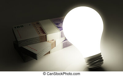 Peso stack with shiny lightbulb - Argentine peso stack with...