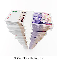 Argentine peso stack on white background.