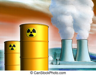 Toxic waste - Radioactive waste from a nuclear power plant....
