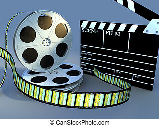 Filming tools - Film reels and slate composition. Digital...