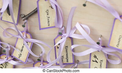 Guest list with keys - Festively decorated guest list for...