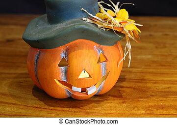 Halloween pumpkin and candles light