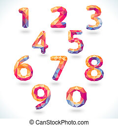 Numbers set in modern polygonal crystal style Vector...
