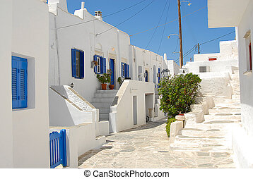 Sifnos - Cyclades - Greece - Alley and houses inside the...