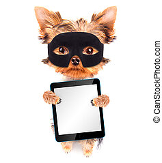 super hero puppy dog with tablet pc - super hero puppy dog...