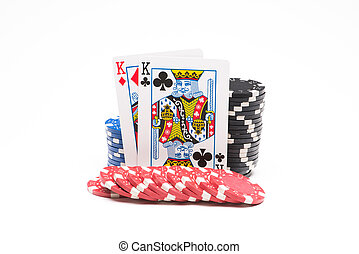 Poker chips with cards isolated on white background