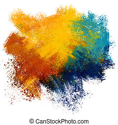 Colorful paint splash on watercolor - Abstract textured...