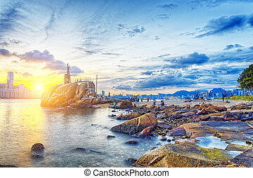 Hong Kong Sunset, Yau Tong Lei Yue Mun water bay and...