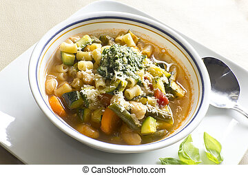 Pistou Soup - Soupe au pistou, French vegetable soup with...
