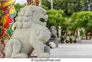 stone lion statue - traditional chinese stone lion statue