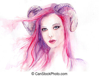 Beautiful woman with long hair and horns, pink, skull,...