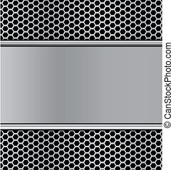 metal texture on black hexagon perforated carbon speaker...