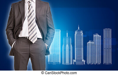 Businessman in suit and wire-frame buildings - Businessman...