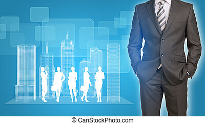 Businessman with wire-frame buildings and business...