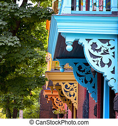 Painted balconies, Montreal - Colour porches and baconies on...