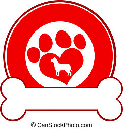 Red Circle Label Design With Paw - Veterinary Red Circle...