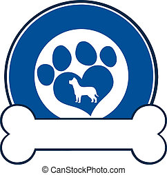 Veterinary Blue Circle Label With Love Paw Dog And Bone....
