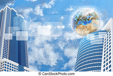 Skyscrapers and Earth with transparent rectangles